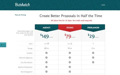 Screenshot of Pricing Page bidsketch.com - Business Proposal Management Pricing | Bidsketch - captured Sept. 18, 2014