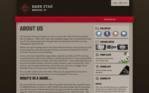 Screenshot of About Page darkstarbrewing.co.uk - About Us | Dark Star Brewing Co - captured Oct. 5, 2014