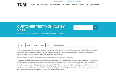 Screenshot of Testimonials Page thetcmgroup.com - Customer Testimonials from 2012 to 2016 | The TCM Group - captured June 15, 2017