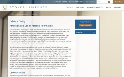 Screenshot of Privacy Page stokeslaw.com - Privacy Policy | Stokes Lawrence - captured Oct. 7, 2014