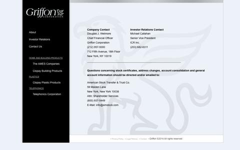 Screenshot of Contact Page griffoncorp.com - Griffon Corporation  — Contact Page - captured Oct. 3, 2014