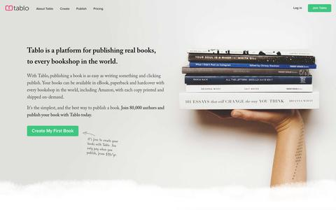 Screenshot of Home Page tablo.io - Tablo   The Best Way to Publish a Book - captured Feb. 12, 2019