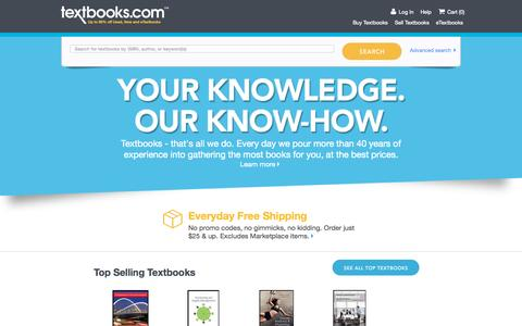 Screenshot of Home Page textbooks.com - Textbooks | Used Textbooks | Cheap Textbooks | Textbooks.com - captured Oct. 2, 2015