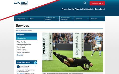 Screenshot of Services Page ukad.org.uk - UK Anti-Doping - captured Sept. 22, 2017