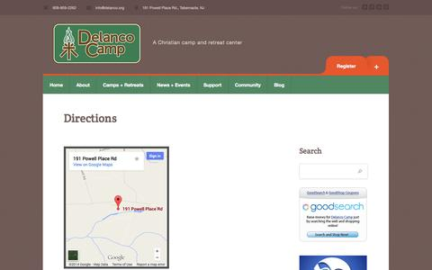 Screenshot of Maps & Directions Page delanco.org - Directions | Delanco Camp - captured Oct. 5, 2014