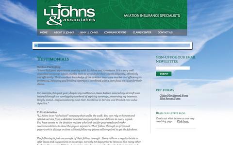 Screenshot of Testimonials Page lljohns.com - Testimonials :: LL Johns & Associates - captured Jan. 23, 2016