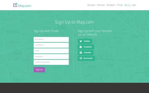 Screenshot of Signup Page mapjam.com - MapJam | Sign up - captured March 31, 2016