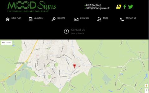 Screenshot of Contact Page moodsigns.co.uk - Contact Us | Enquiries | Sign Writers Kent | Mood Signs - captured Feb. 23, 2016