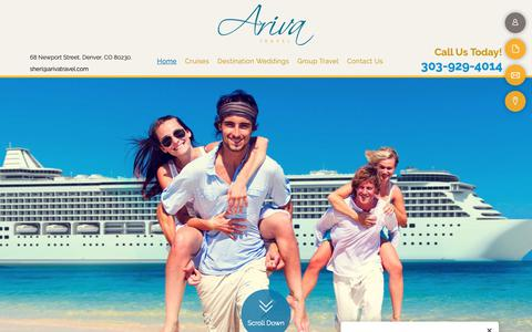 Screenshot of Home Page arivatravel.com - Vacation Packages & Travel Agency - Denver, CO - Ariva Travel - captured Dec. 9, 2018