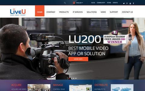 Screenshot of Home Page liveu.tv - Live Broadcasting | Internet Live Broadcast, Live Video Transmission & Video Streaming Software - LiveU - captured Oct. 7, 2015
