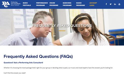 Screenshot of FAQ Page usafest.org - Questions about School Tours? Ask a Performing Arts Consultant here! - captured Sept. 27, 2018