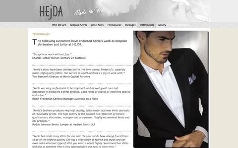 Screenshot of Testimonials Page hejda.com.au - Hejda Tailors in Sydney - bespoke suits and shirts - captured Sept. 26, 2018