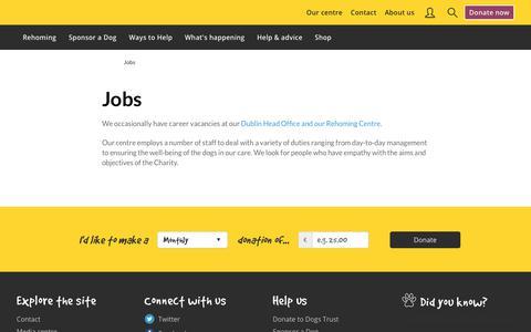 Screenshot of Jobs Page dogstrust.ie - Animal Jobs   Vacancies   Dogs Trust - captured Jan. 17, 2018