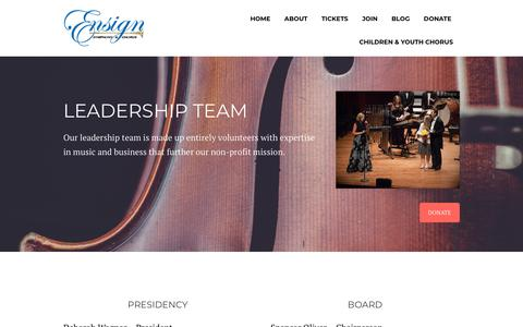 Screenshot of Team Page seattleensign.org - LEADERSHIP – Ensign Symphony & Chorus - captured Sept. 28, 2018