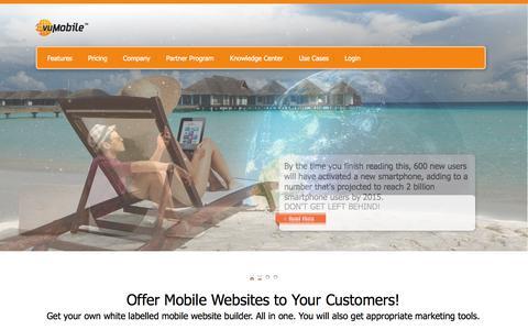 Screenshot of Home Page unitymobile.com - vuMobile | Mobile Website Builder - captured Sept. 17, 2014