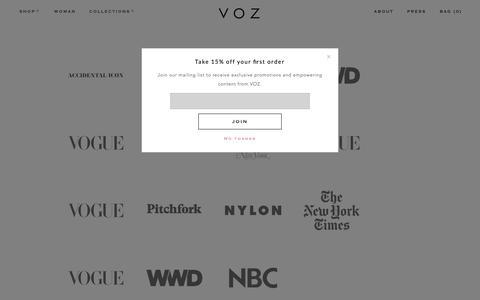 Screenshot of Press Page madebyvoz.com - Press - contact Voz for press inquiries: artisanal, luxury, fashion - captured Oct. 18, 2018