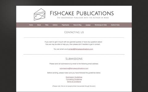 Screenshot of Contact Page fishcakepublications.com - Fishcake Publications - Contact - captured Aug. 14, 2018