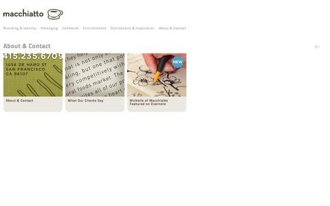 Screenshot of About Page macchiatto.com - About & Contact - captured Sept. 30, 2014