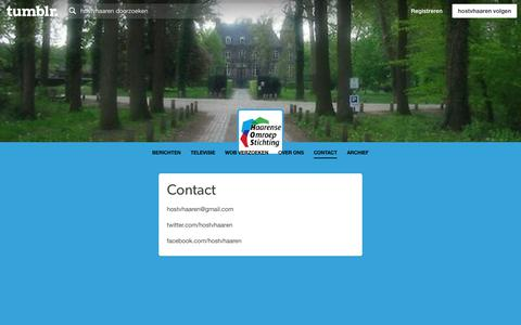 Screenshot of Contact Page tumblr.com - Haarense Omroep Stichting — Contact - captured March 4, 2018