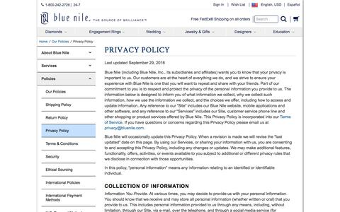 Screenshot of Privacy Page bluenile.com - Privacy Policy | Blue Nile - captured Feb. 22, 2017