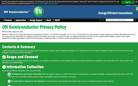 Screenshot of Privacy Page onsemi.com - Privacy Policy - captured Nov. 15, 2018
