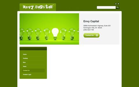 Screenshot of Contact Page envycapital.com - Contact Us - Envy Capital - captured Oct. 2, 2014