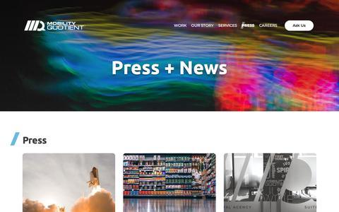 Screenshot of Press Page mobilityquotient.com - Mobility Quotient - Press - captured Sept. 20, 2018