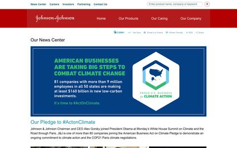 Screenshot of Press Page jnj.com - Our News Center | Johnson & Johnson - captured Oct. 22, 2015