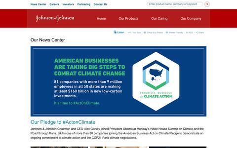 Screenshot of Press Page jnj.com - Our News Center | Johnson & Johnson - captured Oct. 22, 2015