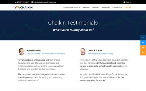 Screenshot of Testimonials Page chaikinanalytics.com - Testimonials - Chaikin Analytics - captured May 9, 2017