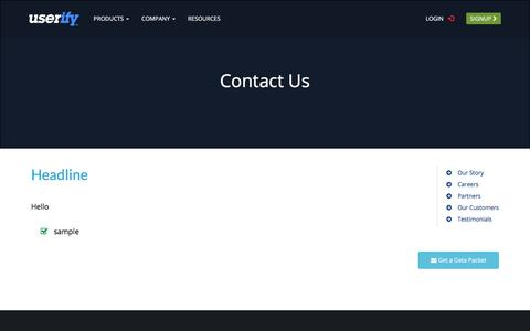 Screenshot of Contact Page userify.com - Contact Us (Company) - SSH Key Manager for the Cloud - Userify - captured June 18, 2017