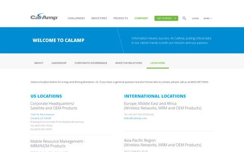 Screenshot of Locations Page calamp.com - Locations | CalAmp - captured July 18, 2014