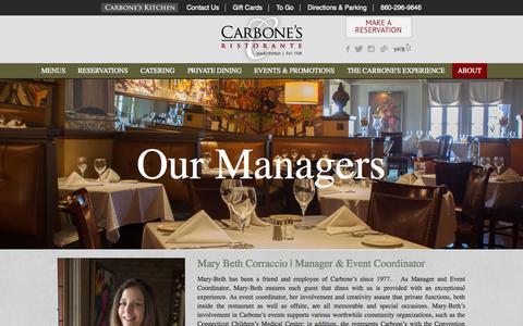 Screenshot of Team Page carbonesct.com - Our Team | Carbone's Ristorante - captured Nov. 1, 2014