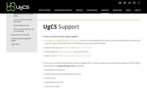 Screenshot of Support Page ugcs.com - UgCS Customer Service | Support - captured Oct. 1, 2018