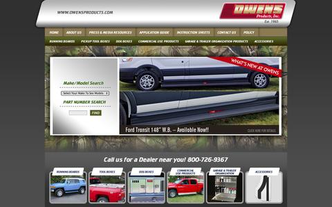 Screenshot of Home Page owensproducts.com - Running Boards, Tool Boxes, Dog Boxes, Commercial Use Products - Owens Products, Inc - Sturgis Michigan - captured Oct. 7, 2014