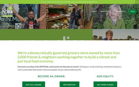 Screenshot of Signup Page dillpickle.coop - Join — The Dill Pickle Food Co-op - captured Feb. 23, 2018