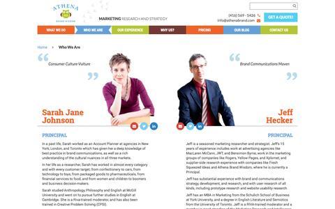 Screenshot of Team Page athenabrand.com - Who We Are - Athena Brand Wisdom - captured Oct. 4, 2014