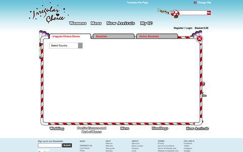 Screenshot of Locations Page irregularchoice.com - Irregular Choice   Shop - captured Sept. 22, 2014