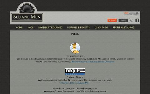 Screenshot of Press Page sloanemen.com - Press | News, media, and wholesaler & retailer information regarding Sloane Men and The Invisible Undershirt | Sloane - captured Sept. 30, 2014