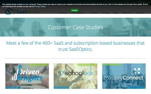 Screenshot of Case Studies Page saasoptics.com - Customer Case Studies | SaaSOptics - captured July 26, 2018