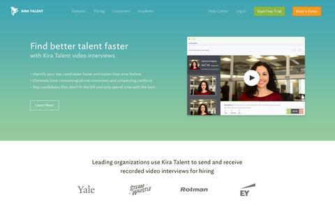 Screenshot of Home Page kiratalent.com - Online Video Interviews | Video Interviewing Made Easy - Kira Talent - captured Jan. 26, 2015