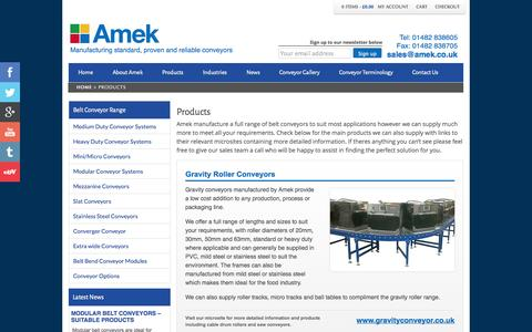 Screenshot of Products Page beltconveyors.net - Full range of conveyor systems Amek can supply. - captured Oct. 4, 2014