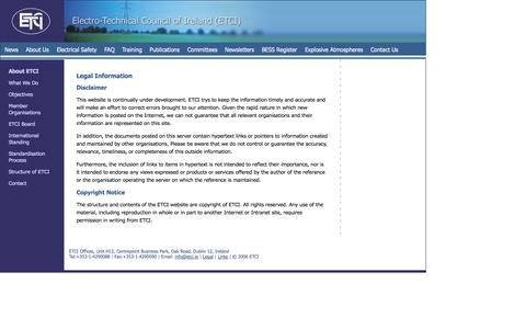 Screenshot of Terms Page etci.ie - Electrical Technical Website - Electricity Regulation, Electrical Safety, European Directives - captured Oct. 2, 2014