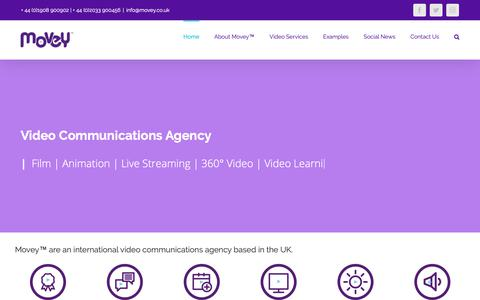 Screenshot of Home Page movey.co.uk - Movey™ Video Communications Agency - captured Oct. 18, 2018