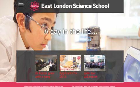 Screenshot of Home Page eastlondonscienceschool.co.uk - East London Science School - captured Jan. 17, 2015
