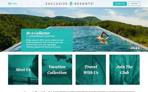 Screenshot of Home Page exclusiveresorts.com - Exclusive Resorts - captured Oct. 1, 2015