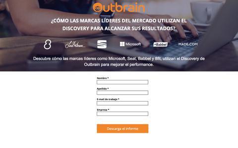 Screenshot of Landing Page outbrain.com - ¿Cómo las marcas líderes del mercado utilizan el Discovery para alcanzar sus resultados? - captured March 2, 2018