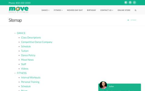 Screenshot of Site Map Page movedanceandfitness.com - Sitemap - Move Dance and Fitness - captured Oct. 18, 2018