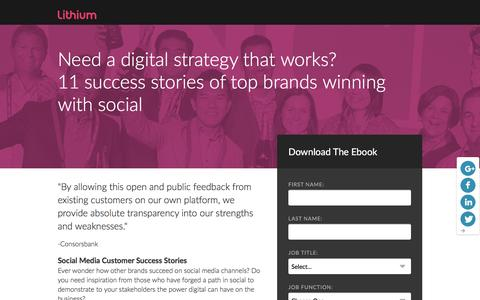 Screenshot of Landing Page lithium.com - Social Media Customer Success eBook | Lithium Resources - captured March 21, 2016