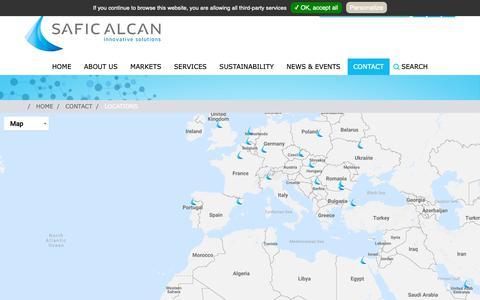 Screenshot of Locations Page safic-alcan.com - LOCATIONS - captured Oct. 1, 2018